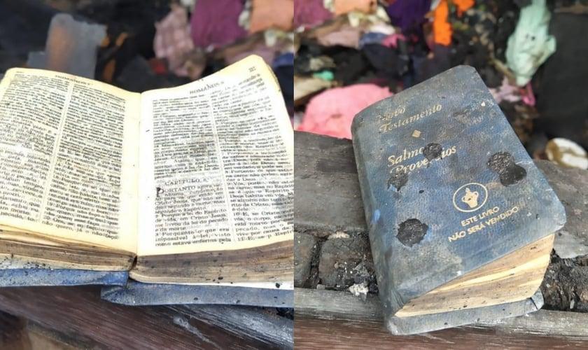 O Novo Testamento foi encontrado em meio às cinzas intacto. (Foto: Portal Nova Santa Rosa).
