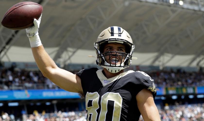 Austin Carr, que atuava na posição de wide receiver, em 2019. (Foto: AP Photo/Gregory Bull)