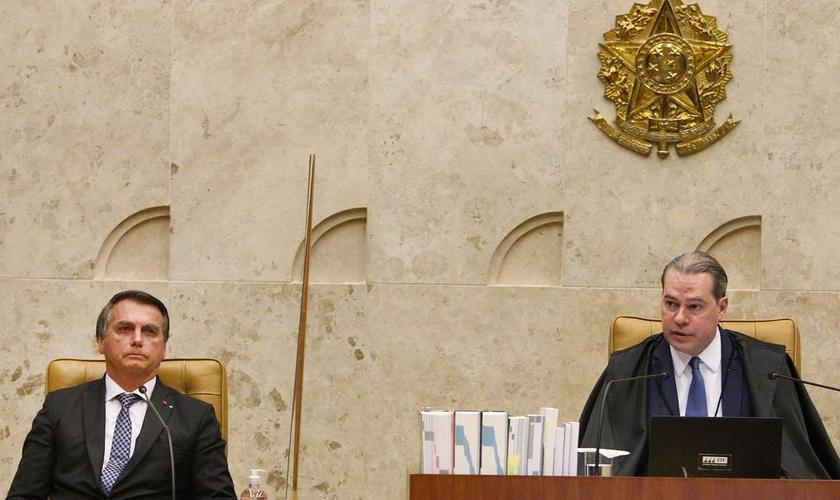 Jair Bolsonaro ao lado do ministro Dias Toffoli, ex-presidente do STF. (Foto: Nelson Jr./SCO/STF)