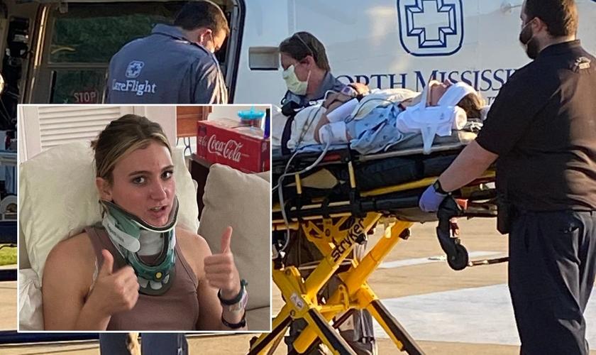 Hannah Locks quebrou seu pescoço e teve que ser encaminhada de helicóptero para uma cirurgia de emergência nos EUA. (Foto: Arquivo pessoal/Montagem Guiame)