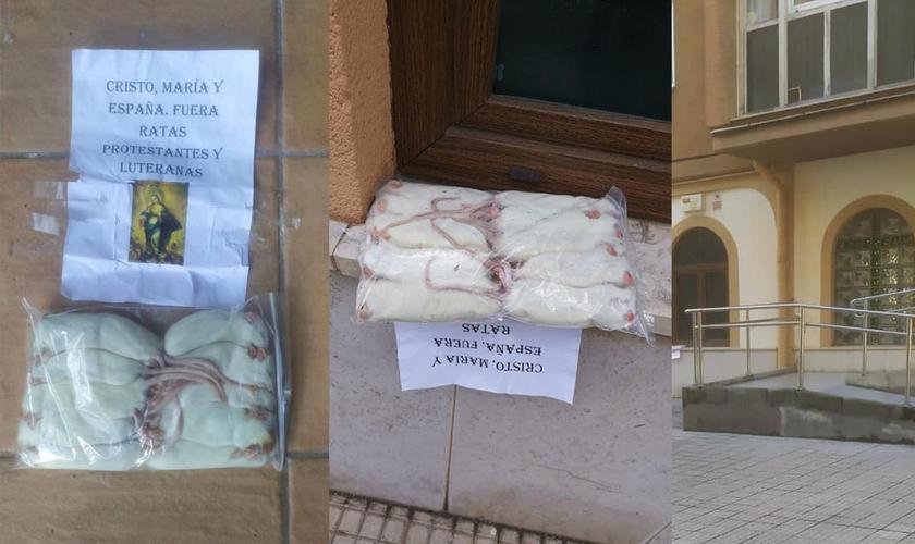 A igreja foi vandalizada com sacos de ratos mortos em suas janelas. (Foto: Iglesia Nueva Vida Santander)