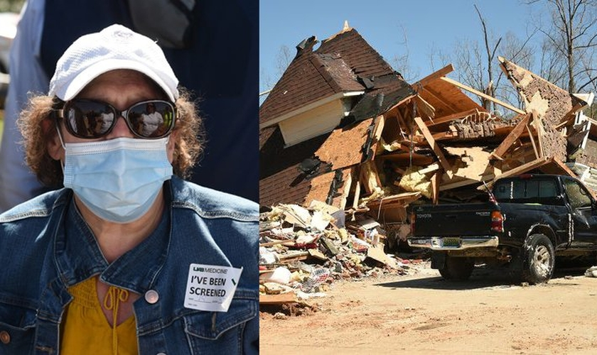 Mary Rose DeArman teve a casa completamente destruída em Eagle Point, no condado de Shelby, nos EUA. (Foto: Joe Songer/AL.com)