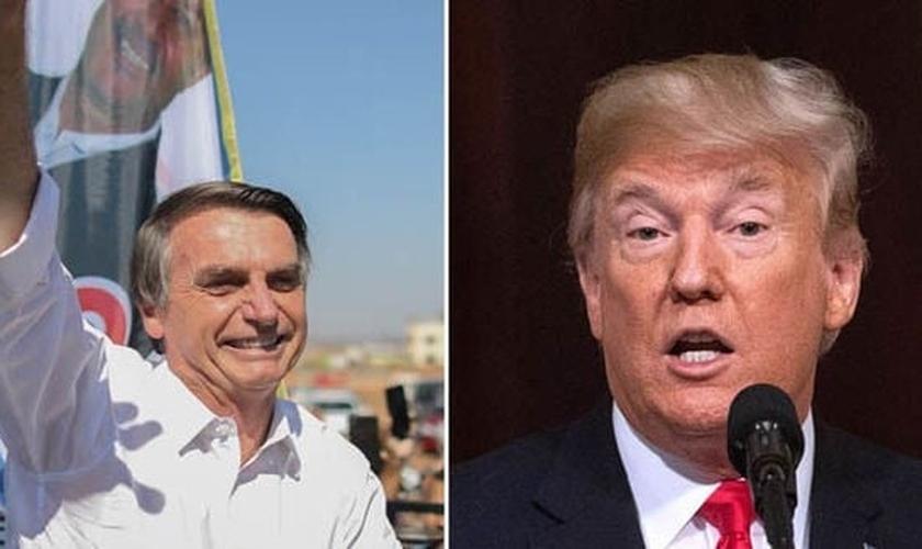 Bolsonaro (esquerda) foi eleito presidente do Brasil no último domingo, 28, e Donald Trump parabenizou o brasileiro. (Foto: Daily Express)