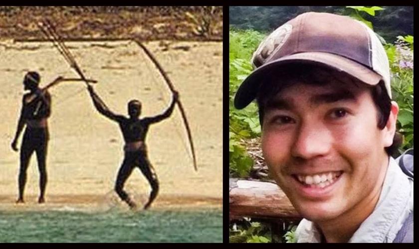 John Allen Chau foi recebido a flechadas pela tribo, mas continuou andando e depois teve uma corda amarrada em seu pescoço e foi arrastado pela praia. (Foto: PageSeven)