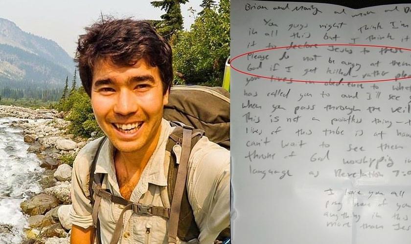 John Allen Chau (esquerda) e a carta que ele escreveu para sua família, antes de viajar para a Ilha da Sentinela do Norte, onde foi assassinado. (Imagem: India Today)