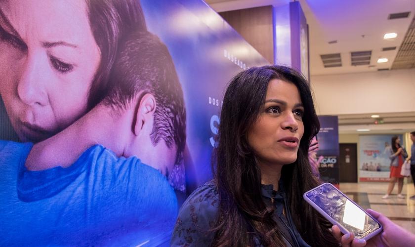 """Cantora Damares em entrevista ao Guiame na pré-estreia do filme """"Superação - O Milagre da Fé"""". (Foto: Guiame/Marcos Paulo Correa)"""