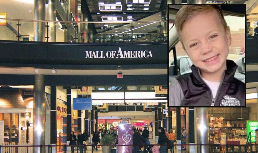 Landen Hoffmann foi lançado do terceiro andar do shopping America Mall, em Minnesota, nos EUA. (Foto: TV2)