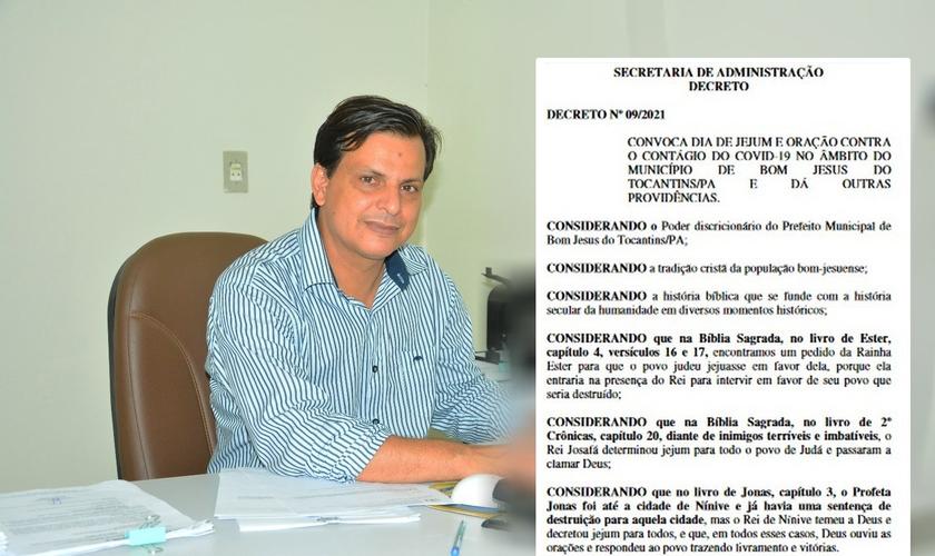 Prefeito João Cunha Rocha decretou dia de jejum e oração contra a Covid-19. (Foto: Reprodução/Prefeitura de Bom Jesus)