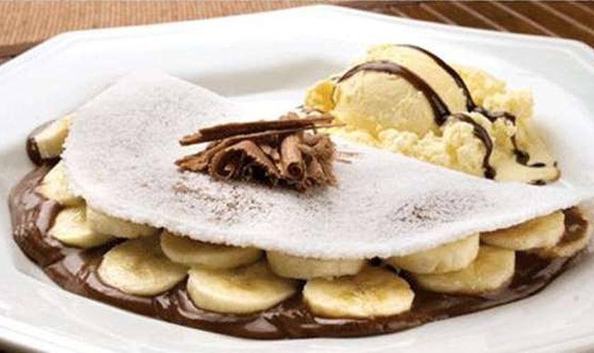 Tapioca de banana com chocolate
