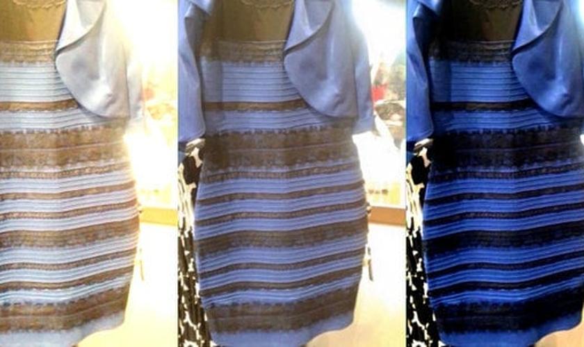 Vestido azul e preto ou branco e dourado