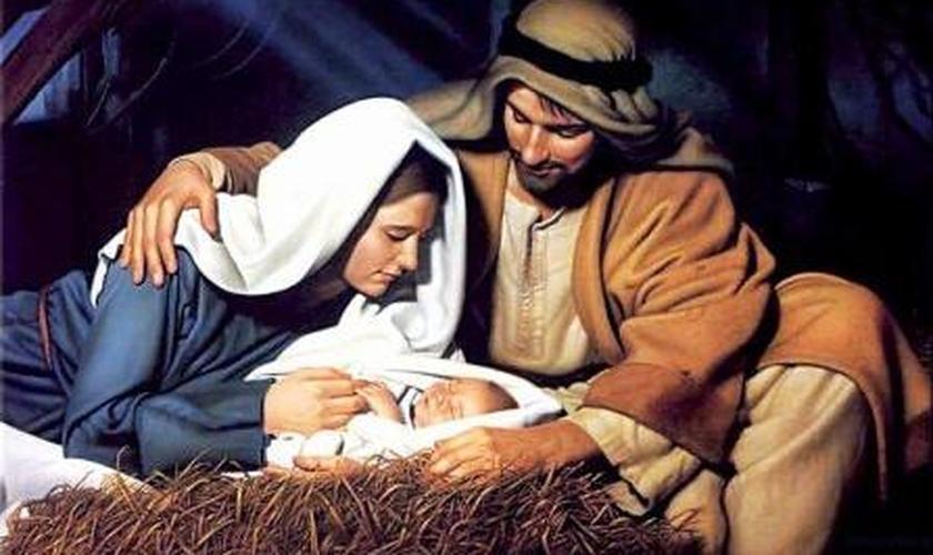 Jesus na manjedoura com José e Maria
