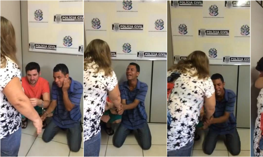 Mulher abraçou criminosos que mataram o filho, no Espírito Santo (Foto: Divulgação/ Polícia Civil)