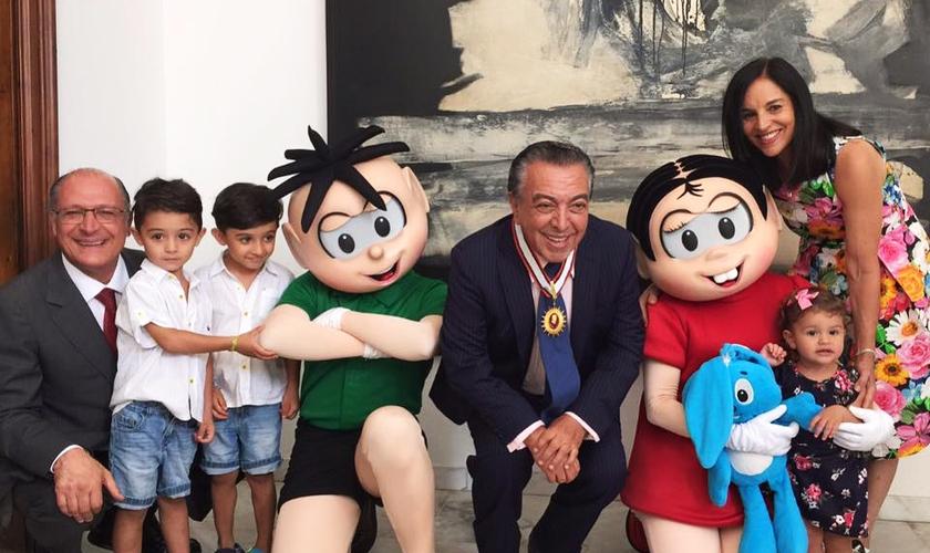 """O """"Turismônica"""" foi lançado pelo cartunista Maurício de Sousa na sede do Governo paulista. (Foto: Reprodução/ Facebook/ Lu Alckmin)"""