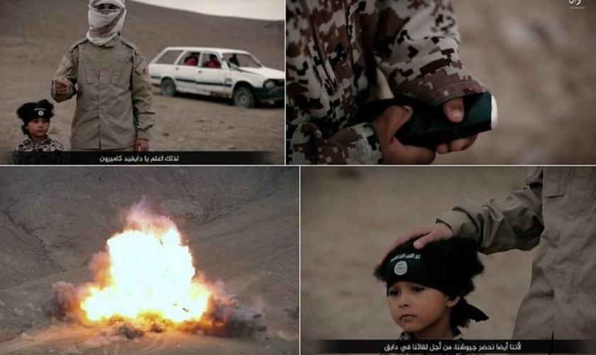 Vídeo mostra jihadi junior detonando carro com três prisioneiros do Estado Islâmico. (Foto: Reprodução)