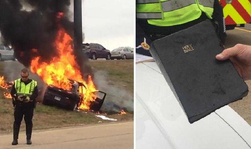 Uma Bíblia também foi recuperada sem nenhum dano, apesar do carro ter sofrido perda total. (Foto: Reprodução/CNN)