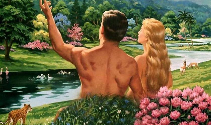 Ilustração sugere cena de Adão e Eva no Jardim do Eden.