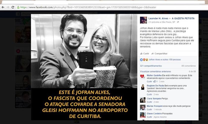 """Foto postada por página do Facebook acusa Jofran Alves de """"cumplicidade para agredir a senadora Gleisi Hoffman"""". (Imagem: Facebook)"""