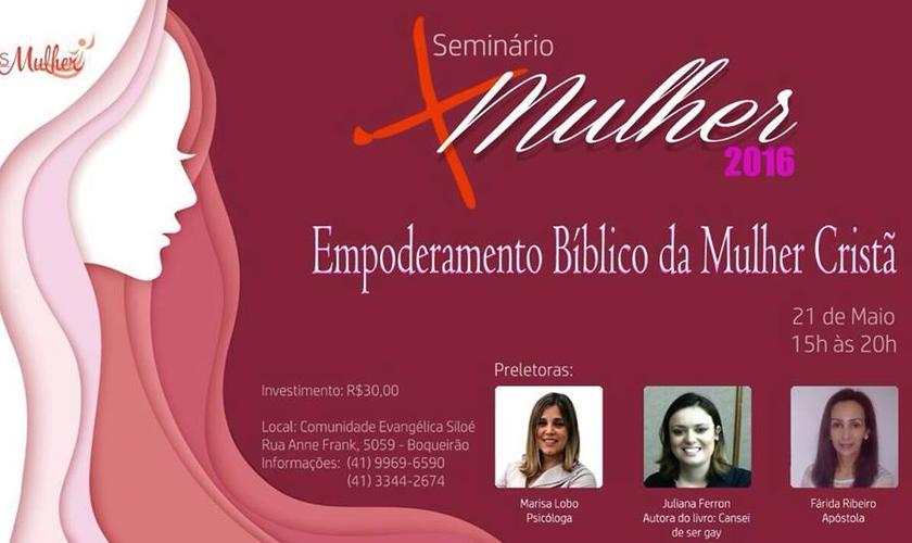 O Seminário Empoderamento Bíblico da Mulher Cristã se realizará na Comunidade Evangélica Siloé, em Curitiba - PR. (Imagem: Divulgação)