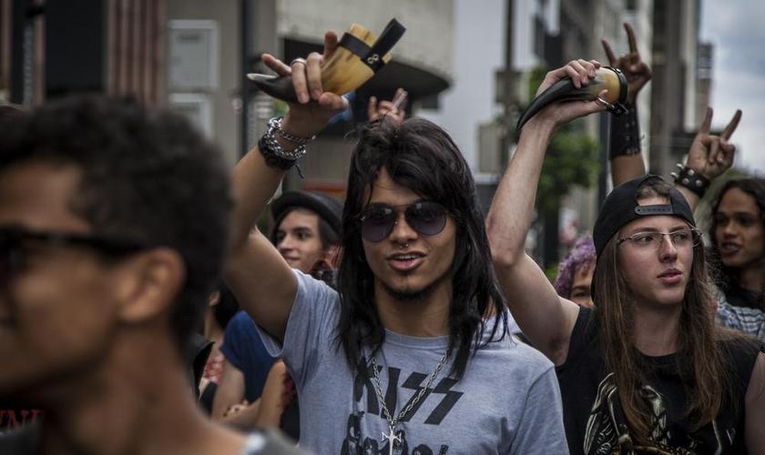 Em janeiro, a Marcha Para Satanás foi encerrada por causa do número pequeno de participantes. (Foto: Jardiel Carvalho/R.U.A Fotocoletivo)