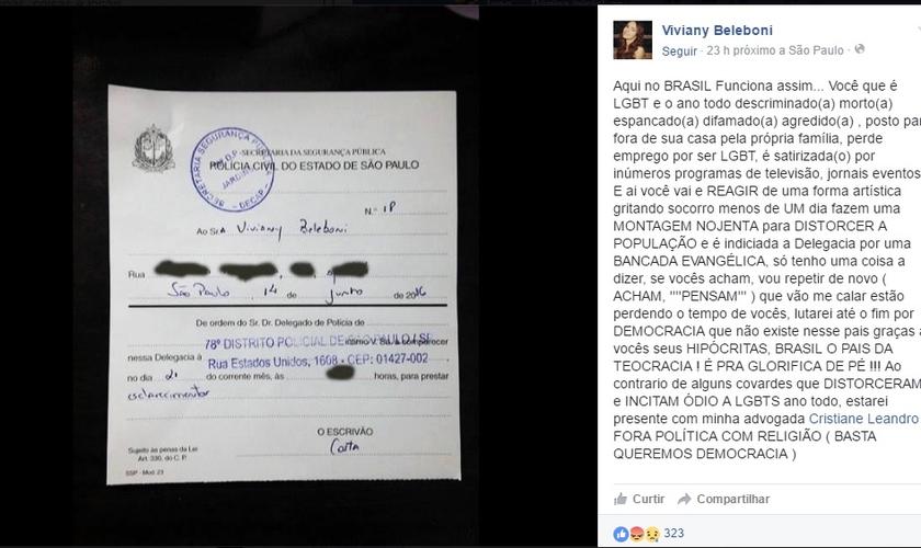 O transexual chegou a criticar a intimação em um post de sua página das mídias sociais. (Foto: Facebook)