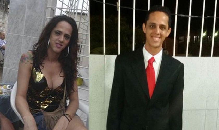 À esquerda, Thiago Leite ainda no tempo em que era travesti. Á direita, após sua conversão. (Imagem: Guiame)