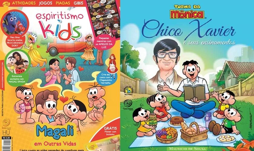 """Revista 'Espiritismo Kids' divulga o livro """"Magali em outras Vidas"""" (à esquerda) e a capa do livro """"Chico Xavier e Seus Ensinamentos"""" (à direita). (Imagem: Guiame)"""
