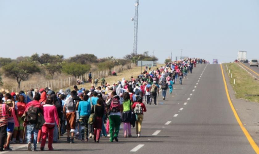 Cerca de sete milhões de peregrinos católicos que caminham em procissão, em San Juan de los Lagos. (Foto: Reprodução)