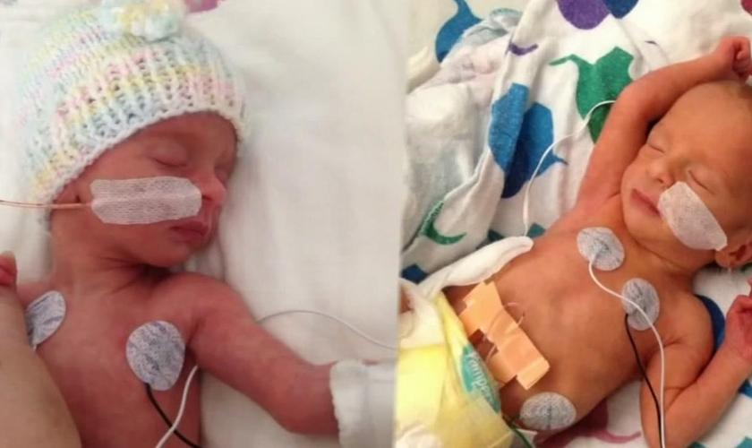 Nico e Camila nasceram na última semana e conheceram os braços de sua mãe. (Foto: Reprodução/ABC 7 News)