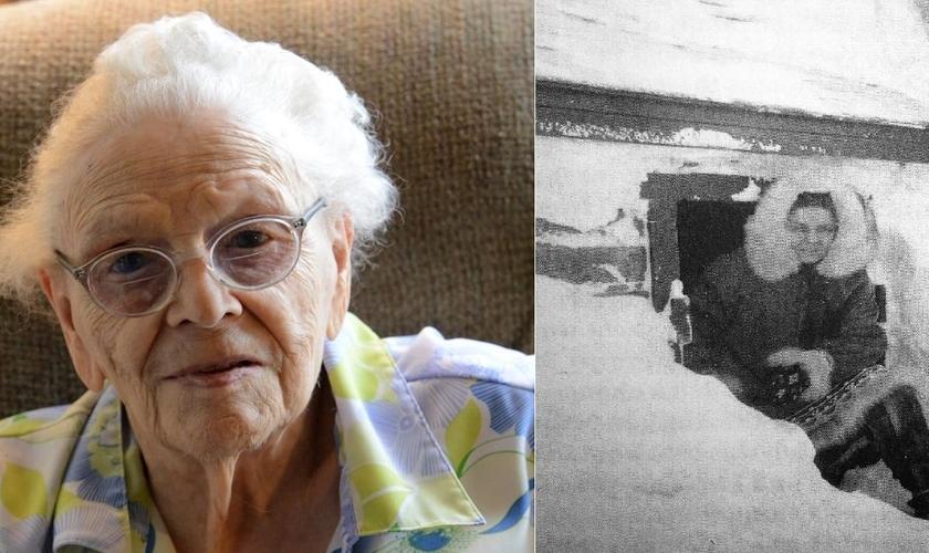 Alice Green aos 100 anos (esquerda) e à direita, ainda atuando como missionária em Savoonga. (Imagem: Arquivo pessoal)