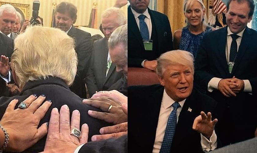 Pastores impõem as mãos sobre Trump para oração (esquerda) e conversam com o presidente (direita). (Imagem: Facebook)