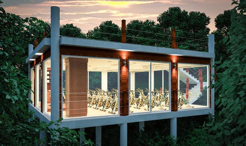 Studio Tree House é equipado com equipamentos fitness, no hotel The BodyHoliday. (Foto: Divulgação)