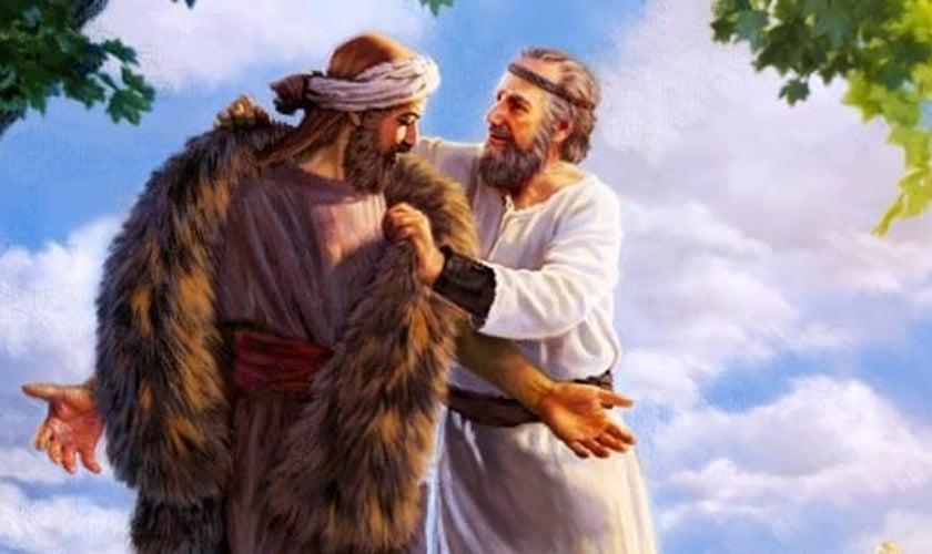 Pintura mostra Elias vestindo capa de pele de animal em Eliseu. (Imagem: Comparte)