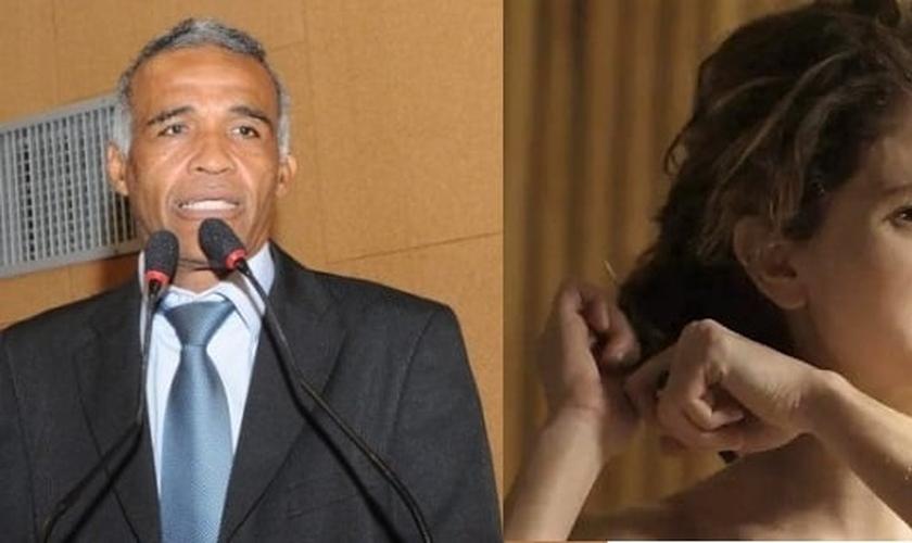 """Deputado Sargento Isidório (pastor e ex-gay) à esquerda e a cena na qual a personagem Ivana corta seus cabelos na novela """"A Força do Querer"""". (Imagem: RD1)"""
