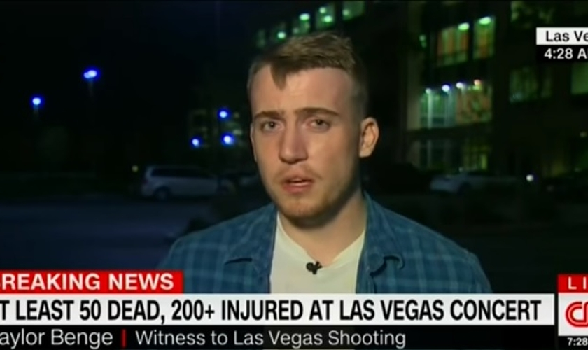 Taylor Benge é um dos sobreviventes do maior ataque a tiros da história dos EUA. (Foto: Reprodução/CNN)