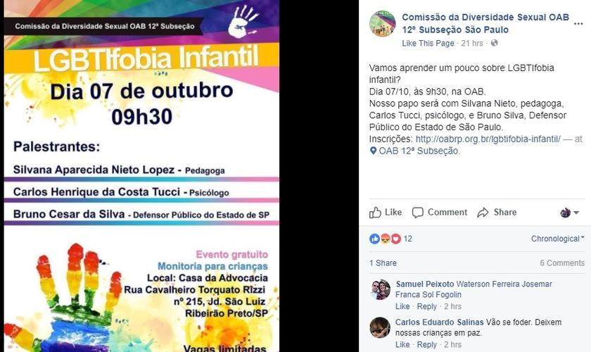Publicação no Facebook, divulga a realização do evento. (Imagem: Facebook)