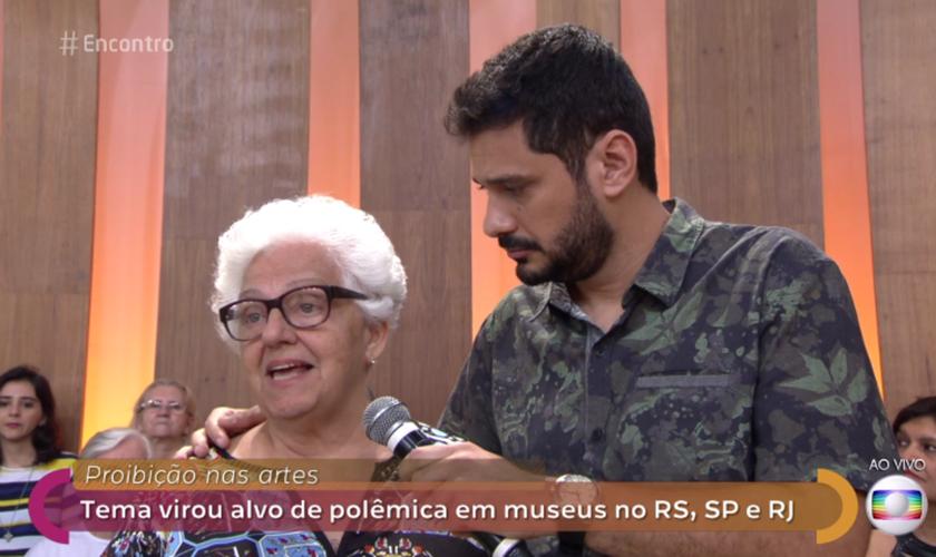 Dona Regina surpreendeu artistas da Rede Globo ao se opor à 'exposição de arte' do MAM. (Imagem: GShow)