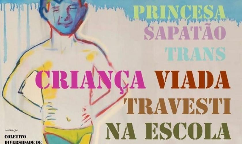 """Divulgação do evento no Facebook fazia referência à obra """"Criança Viada"""", apresentada na polêmica exposição """"Queermuseu"""", em Porto Alegre. (Imagem: Facebook)"""