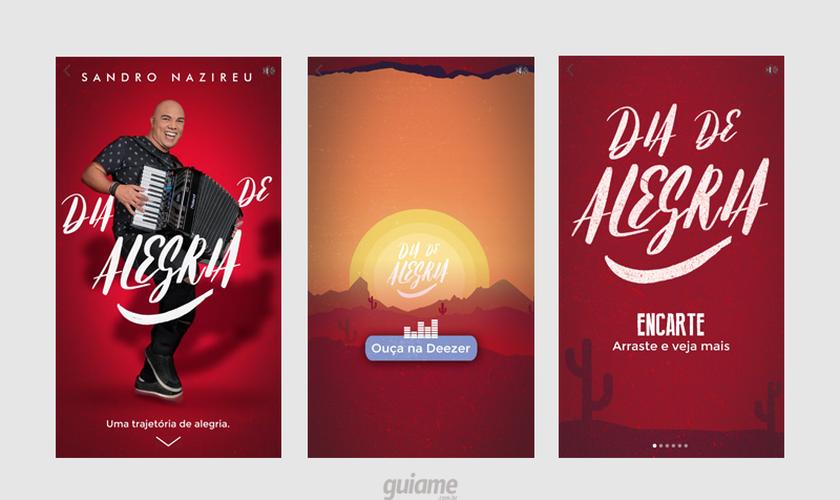 O produto para o cantor Sandro Nazireu tem links para o Spotify, Deezer e YouTube. (Fotos: Reprodução).