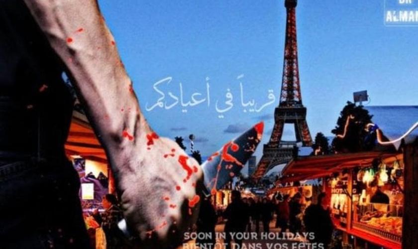 Imagem divulgada pelo Estado Islâmico sugere novos ataques em Paris. (Imagem: Twitter/@dralmani2)