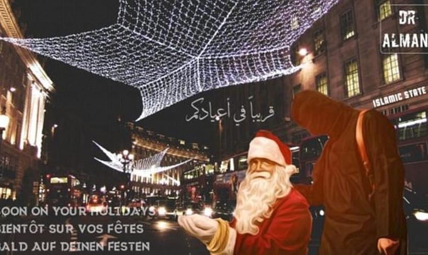 Imagem divulgada pelo Estado Islâmico expõe uma figura do Papai Noel ajoelhado para ser decapitado por um terrorista. (Imagem: Daily Mail)