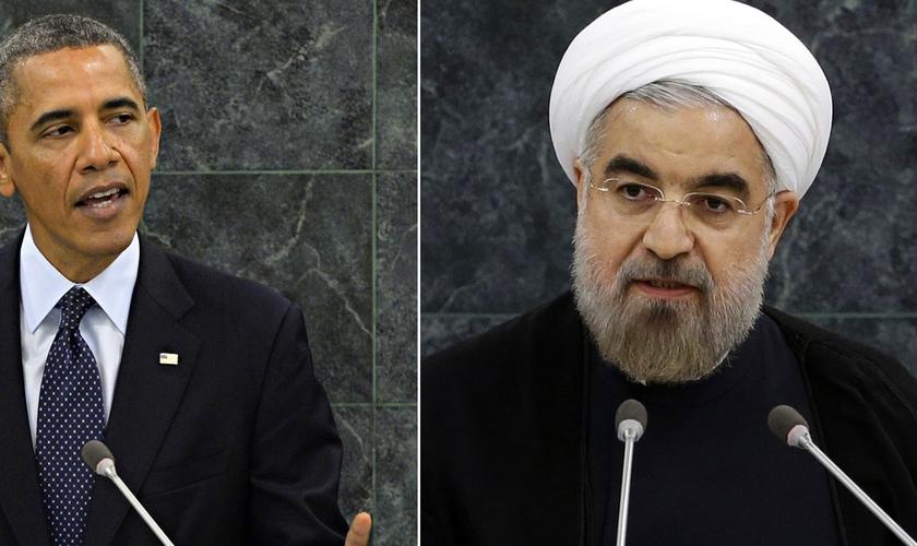 Ex-presidente norte-americano, Barack Obama (esquerda) e presidente iraniano Hassan Rouhani (direita). (Foto: The Federalist)