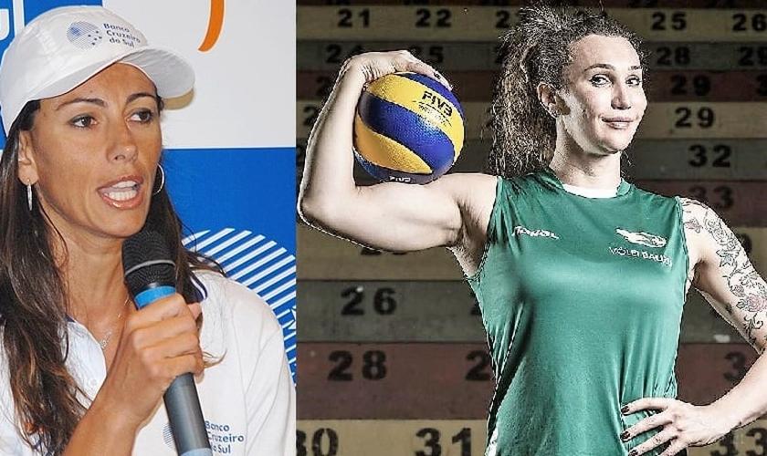 Ana Paula (esquerda) criticou a aceitação de Tifanny (direita), que é transexual, em um time feminino de vôlei. (Imagem: Guiame - Edição)