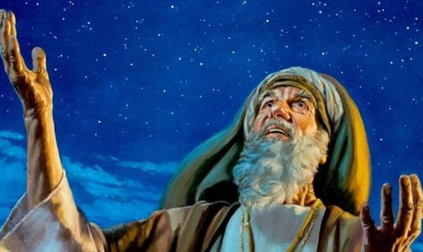Abraão olha para o céu em uma conversa com Deus. (Imagem: JW.org)