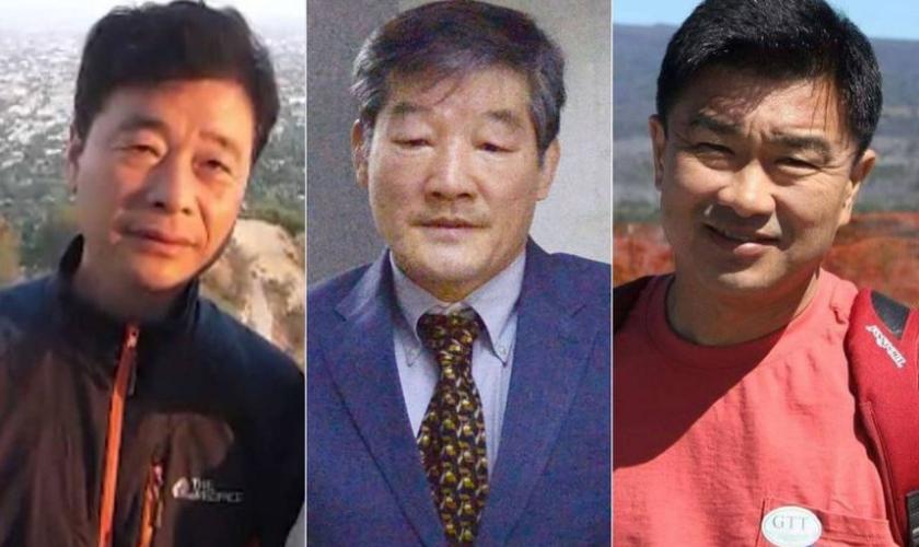 Na foto, os cristãos Kim SangDuck (Tony Kim), Kim Dong Chul e Kim Hak-song, presos na Coreia do Norte. (Foto: Reprodução).
