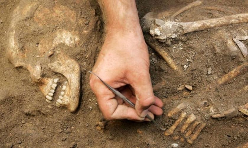 Arqueólogos descobrem esqueleto humano, do período cananeu de 1.800 a.C. (Foto: REUTERS/ ALI HASHISHO)