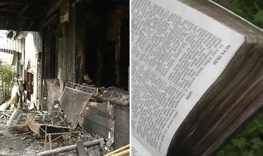 A Bíblia não foi atingida pelas chamas, apesar da intensidade do incêndio. (Foto: Reprodução/NewsChannel 6)