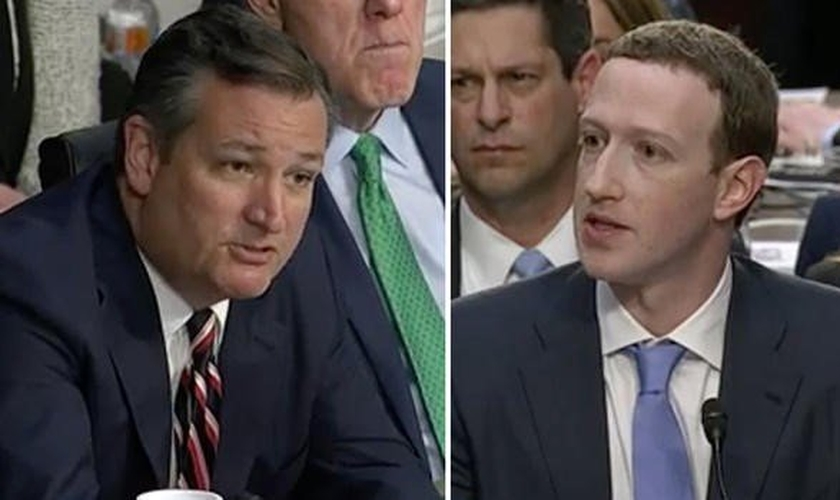 Senador Ted Cruz confrontou Mark Zuckerberg sobre censura política no Facebook. (Imagem: CBS)