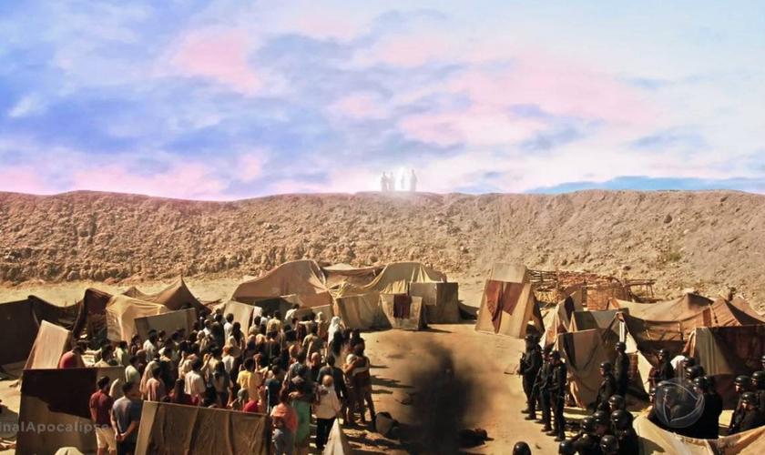 A aparição de Jesus Cristo emocionou o público da novela Apocalipse. (Foto: Reprodução/RecordTV)