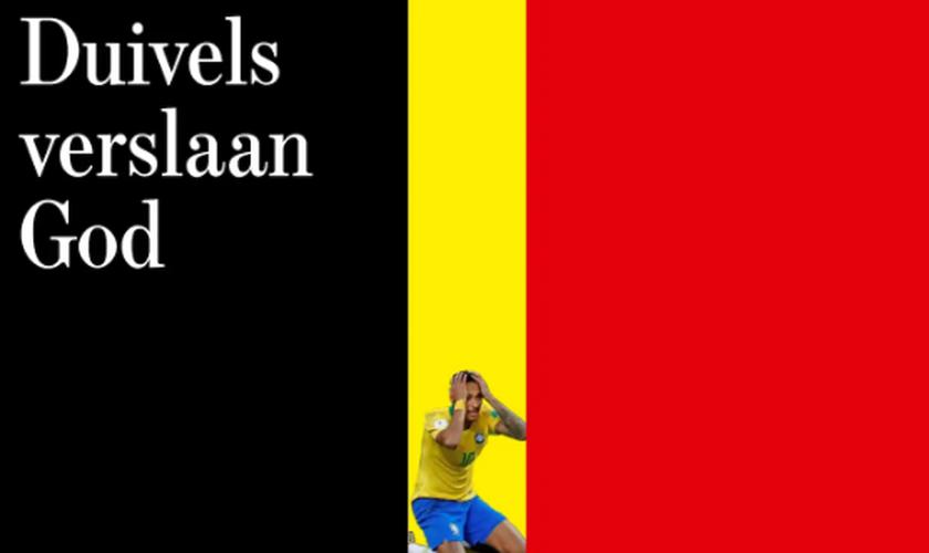 O jornal belga De Standaard afirmou que os diabos venceram Deus em sua manchete. (Foto: De Standaard)