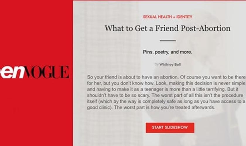 Artigo da 'Teen Vogue' com mensagem de apologia ao aborto. (Foto: Reprodução)